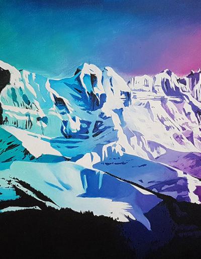 Les Dents-du-Midi, acrylique sur toile 50 x 100cm, 2019