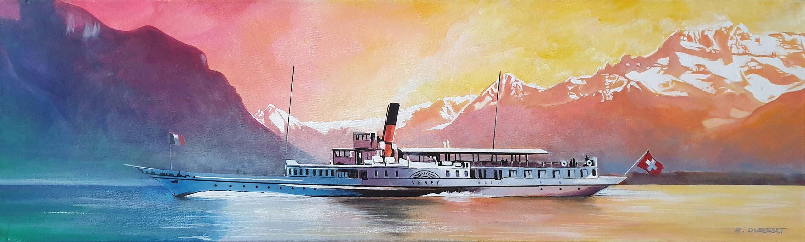 Bateau CGN, Vevey, acrylique sur toile 30 x 100cm