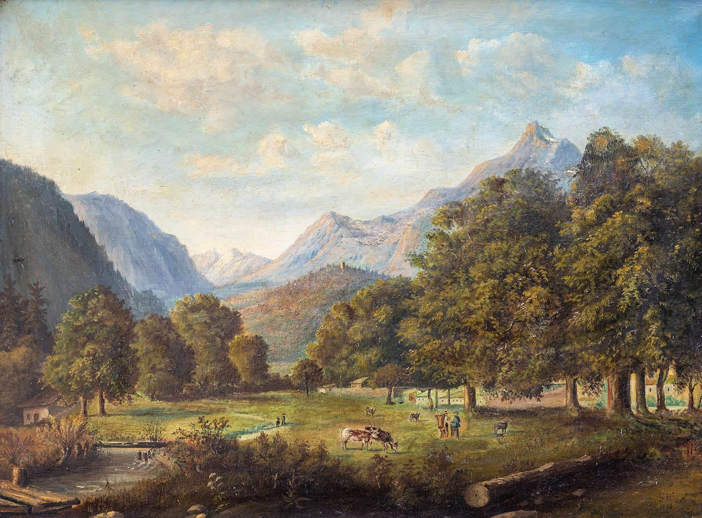 Bex et la Dent du Midi par G. Peter, 1878